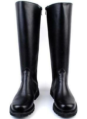 Mens Military Knight Leather Combat Officer Boot Knee High Riding Boots Vintage