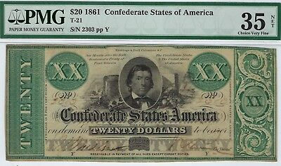 T-21 PF-6 $20 Confederate Paper Money 1861 - PMG Choice Very Fine 35 Net!