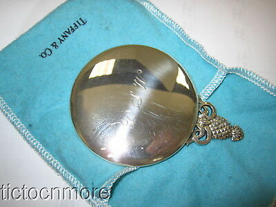 VINTAGE TIFFANY & Co STERLING SILVER PINEAPPLE POCKET HAND MIRROR & POUCH