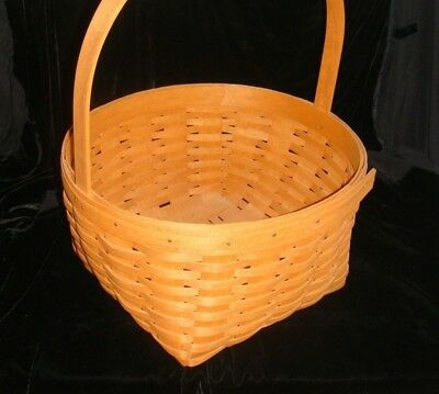 "1990 Longaberger hostess only HEARTHSIDE lg. oval BASKET 12x11x6.5"" fixed-handle"