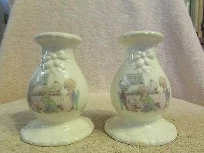 Pair of PRECIOUS MOMENTS Taper Candle Holder LORD'S BLESSING, 1994, No 654469