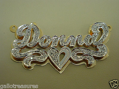"Brand New 14 K Two Tone Ladies Diamond Name Plate "" DONNA """