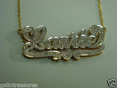 "Brand New 14 K Two Tone Ladies Diamond Name Plate ""LAURIE"" with Chain"