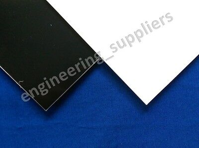 Large Thin Black and White Square HIPS Plasticard Sheet 0.25, 0.5, 0.75 & 1mm