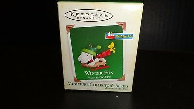 NEW Hallmark Miniature Ornament Winter Fun With Snoopy 2005 8th in Series MIB