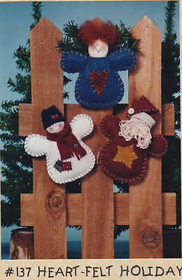 """Primitive 6"""" Christmas Felt Ornaments Pattern by Briar Rose Collection- New"""