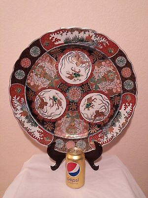 Japanese Large Rare Imari Scalloped Charger Plate 19th Century & 18 inches D.
