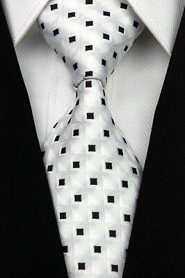 White Black Checks Men's Classic JACQUARD Woven Necktie Tie Formal 2018