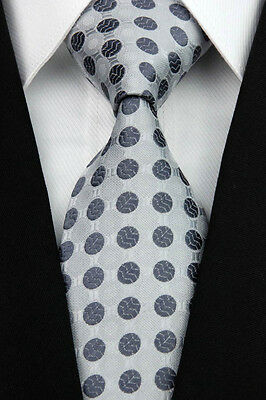 Gray Dots Man Classic JACQUARD Woven Necktie Ties Business Formal Tie