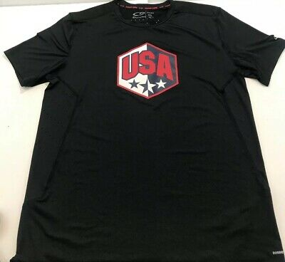 Champion Athletic Apparel Team USA Black Mens T-Shirt Size XXL DuoDry Power Core