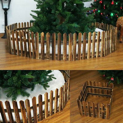 30*160cm Foldable Christmas Wooden Snow Fence Xmas Tree Skirt Stand Cover Decor