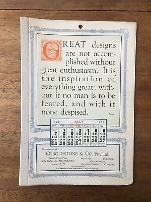 Antique May 1922 Calendar Osboldstone Co Melbourne Printer Vintage Card