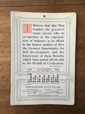 Antique November 1919 Calendar Osboldstone Co Melbourne Printer J.d.rockefeller