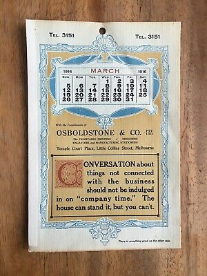 Antique March 1916 Calendar Osboldstone & Co Melbourne Printer Art Nouveau