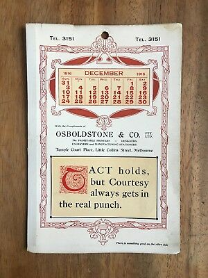 Antique December 1916 Calendar Osboldstone & Co Melbourne Printer Art Nouveau