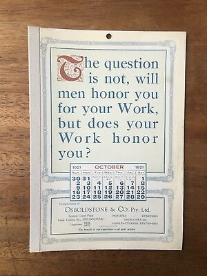 Antique October 1921 Calendar Osboldstone Co Melbourne Printer Vintage Card