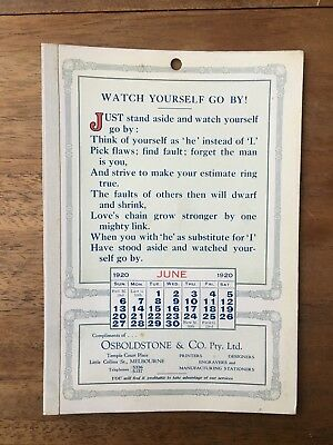 Antique June 1920 Calendar Osboldstone & Co Melbourne Printer Vintage Card