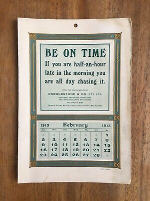 Antique February 1913 Calendar By Osboldstone & Co Melbourne Printer Art Nouveau