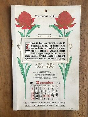 Antique December 1912 Calendar By Osboldstone & Co Melbourne Printer Art Nouveau