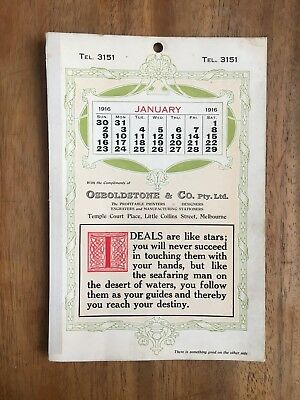 Antique January 1916 Calendar Osboldstone & Co Melbourne Printer Art Nouveau