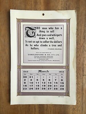 Antique March 1913 Calendar By Osboldstone & Co Melbourne Printer Art Nouveau