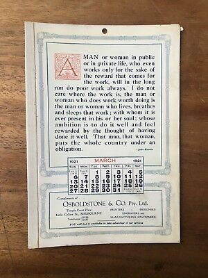 Antique March 1921 Calendar Osboldstone Co Melbourne Printer John Ruskin