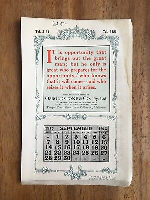 Antique September 1913 Calendar Osboldstone & Co Melbourne Printer Art Nouveau