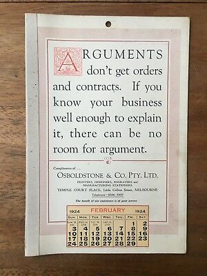 Antique February 1924 Calendar Osboldstone Co Melbourne Printer Vintage Card