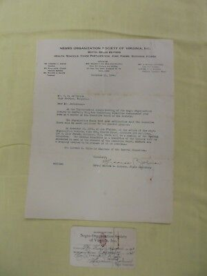 Historical Letter or Recommendation~1944 Negro Organization Society of Virginia,