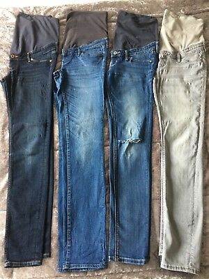 4x H&M Maternity Jeans Skinny /Slim Fit size 12 Blue & Grey Good used condition