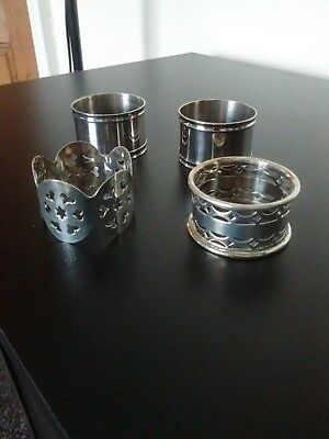 4 X Silver Plated Napkin rings 2 With Pierced Decoration