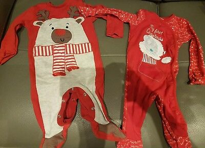 Christmas Babygrows 3-6 months x 2