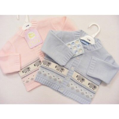 Baby Boys Girls Traditional Pink & Blue Sheep Cardigan