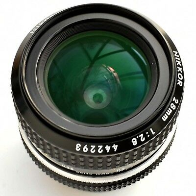 Nikon (Nikkor) Super sharp 28mm f/2.8 AI Manual Focus FX Lens. Tested Near Mint