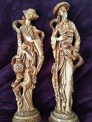Pair of vintage Resin Figurines Statues Chinese Couple with birds