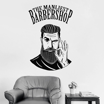Men Barbershop Sign Wall Stickers Mural Barber Shop Logo Sticker Window Decal