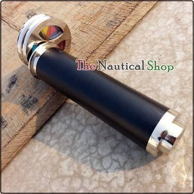 Brass Kaleidoscope Double Wheel Antique Leather Wrapped Nickel Finish Telescope