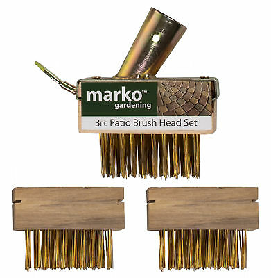 3Pc Replacement Spare Patio Weed Brush Head Set Scraper Spike Steel Garden Block