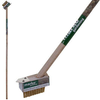 1.2M Patio Weed Brush Wooden Handle Block Paving Slab Gap Cleaner Moss Garden