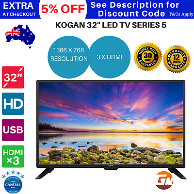 "Kogan 32"" LED TV (Series 5 DH5000) 1366 × 768 HD image resolution HDMI USB"