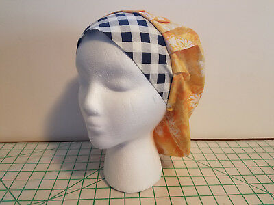 Women's Bouffant Surgical Scrub Hat Yellow Flowers with Diamond Ban