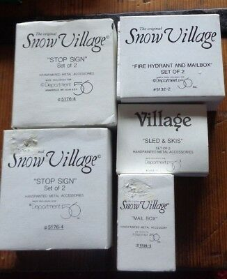 Dept 56 SNOW VILLAGE ACCESSORIES - LOT OF 5 - Mailbox, Stop Signs, Sled, Hydrant