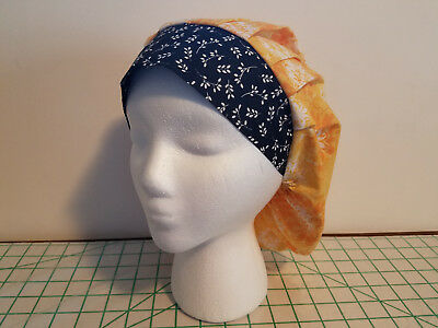 Women's Bouffant Surgical Scrub Hat Yellow Flowers with Vines Ban