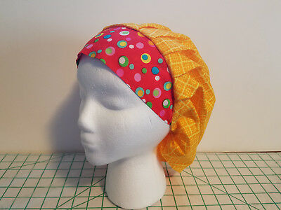 Women's Bouffant Surgical Scrub Hat Yellow Flowers