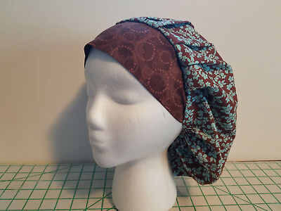Women's Bouffant Surgical Scrub Hat Teal Flowers