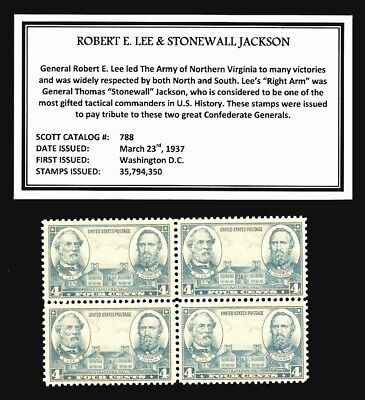 1937 - CSA GENL's - LEE & JACKSON - Mint -MNH- Block of  Vintage Postage Stamps