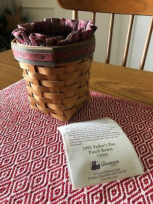 1992 Longaberger Father's Day Pencil Basket w/ Card, Liner & Protector - RARE!