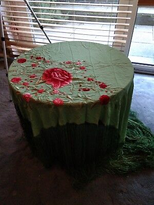 Vintage piano shawl hand embroidery silk floral 1920s antique green red Art.Deco