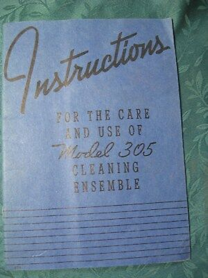 1940 Hoover Vacuum Cleaner Model 305 Cleaning Attachment Manual w/ Receipt