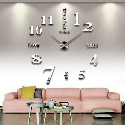 DIY Large 3D digital Wall Clock Modern Number Mirror Living Room Bedroom Clocks